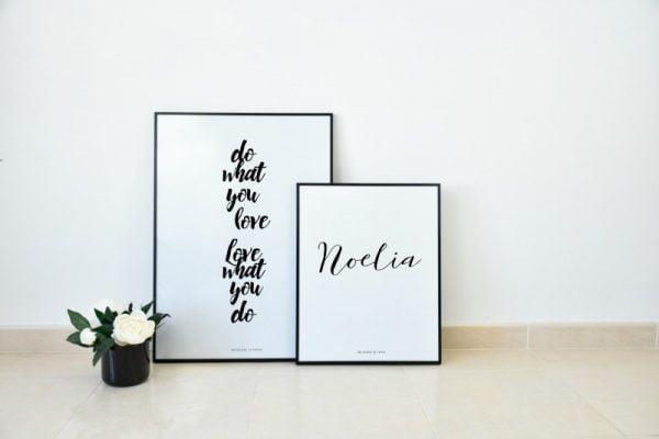 Conjunto de láminas Do What You Love y Nombre - Frases Nombre