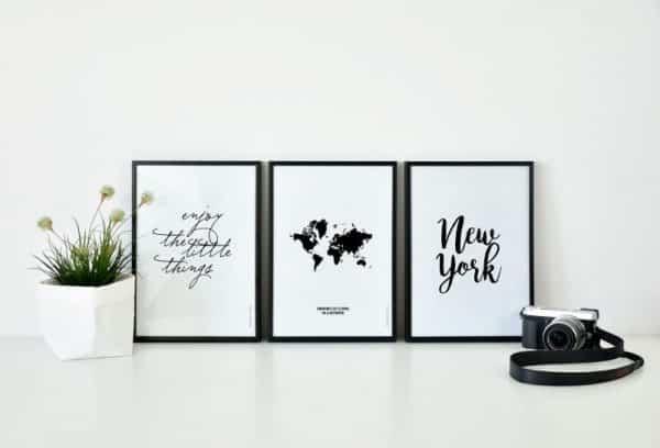 Conjunto de láminas Frase Mapa mundo y Ciudad New York