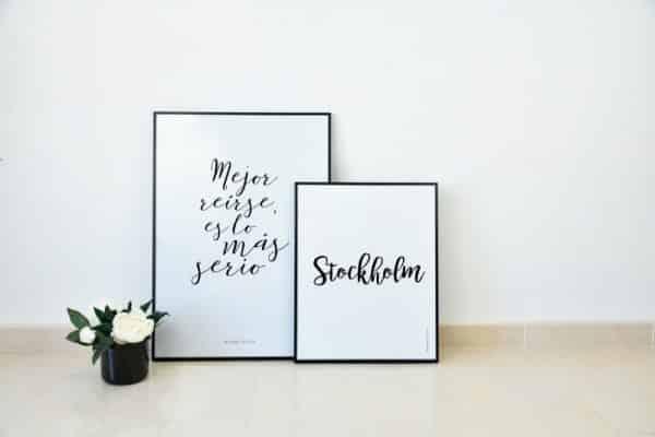 Conjunto de láminas Frase y Ciudad Estocolmo