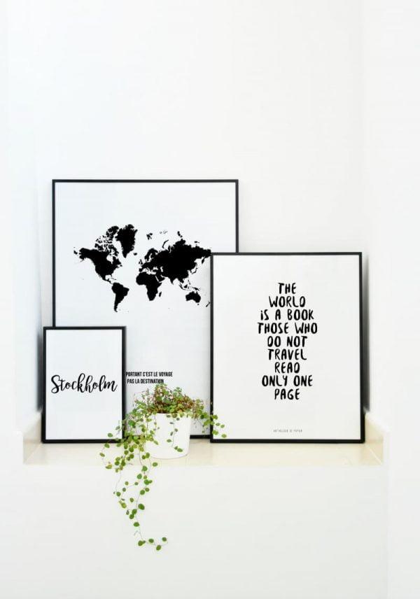 Conjunto láminas Frase, Mapa del mundo y Ciudad Estocolmo