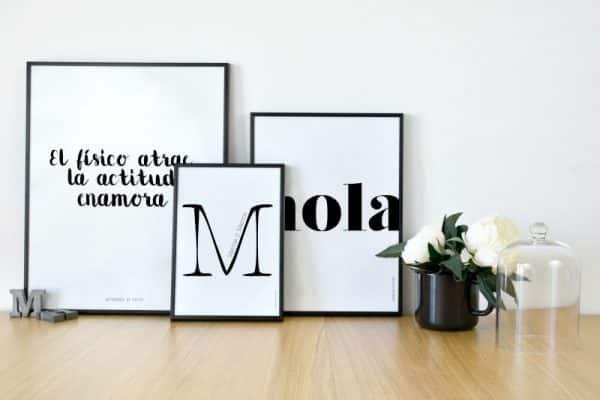 Conjunto láminas personalizadas Saludo Hola, Nuage y Actitud - Ilustración Frases Hogar
