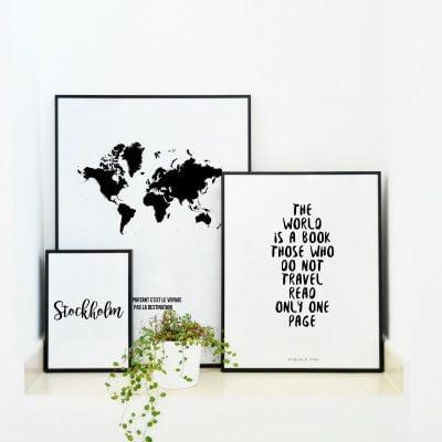 Lámina Carte du Monde planta - Ilustración