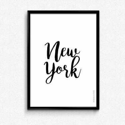 Lámina City Ciudad Nueva York - Ilustración Frase