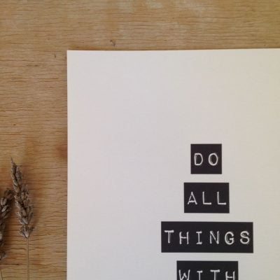 Lámina Love Sale - Do All Things With Love- Frases