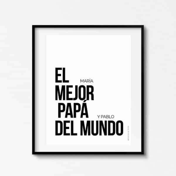 Lámina Best Dad Ever Mejor Padre Personalizable - Ilustración