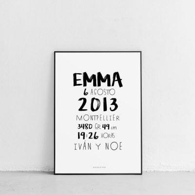 Lámina nacimiento typographique personalizada - Ilustración