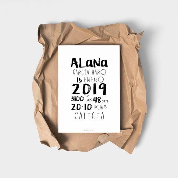 Lámina nacimiento typographique Alana personalizada - Ilustración