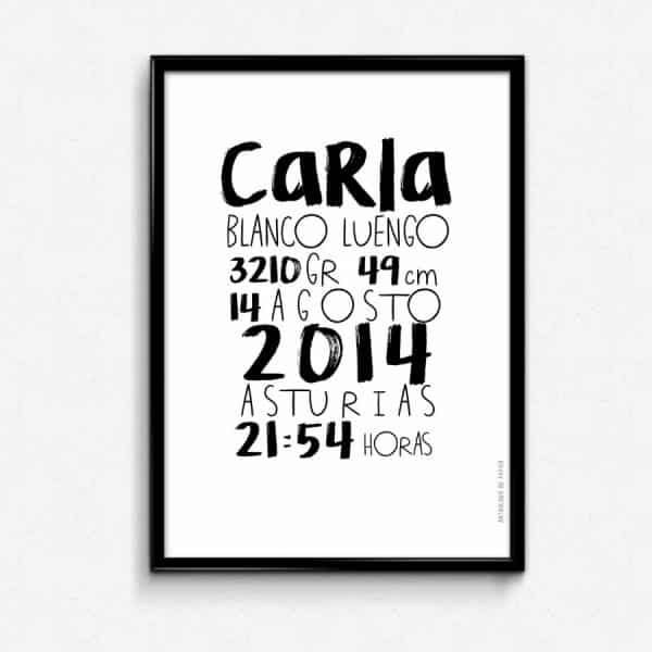Lámina nacimiento typographique Carla personalizada - Ilustración