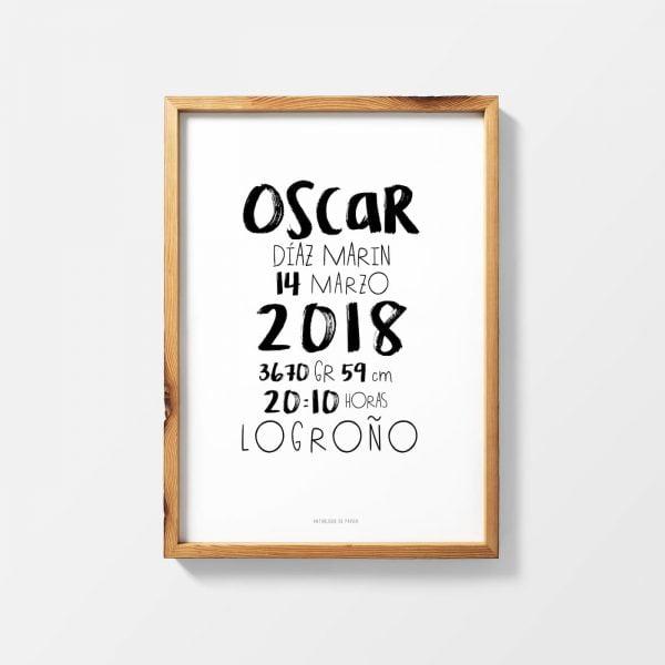 Lámina nacimiento typographique Oscar personalizada - Ilustración
