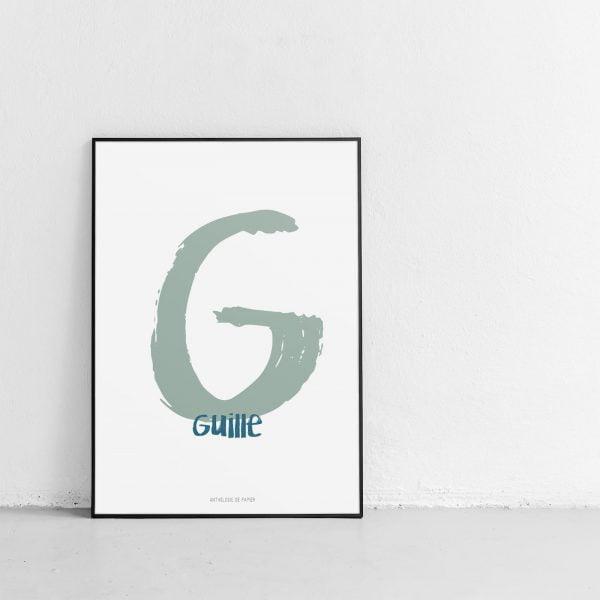 Lámina Nuage Dessiné Color Guille personalizada - Ilustración