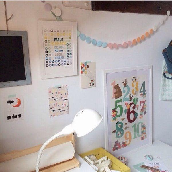 Lámina nacimiento Petit Kudu BLUE en habitación bebé - Frases Fecha Nombre