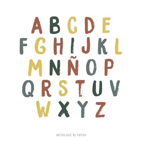 Lámina ABC Color Abecedario Personalizable - Ilustración