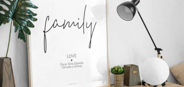 Lámina Family Love personalizada escritorio - Frase