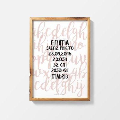Lámina de nacimiento Letter - Ilustración