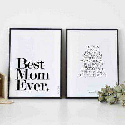 Conjunto láminas Mamá siempre tiene razón Reglas - Frases Día de la Madre